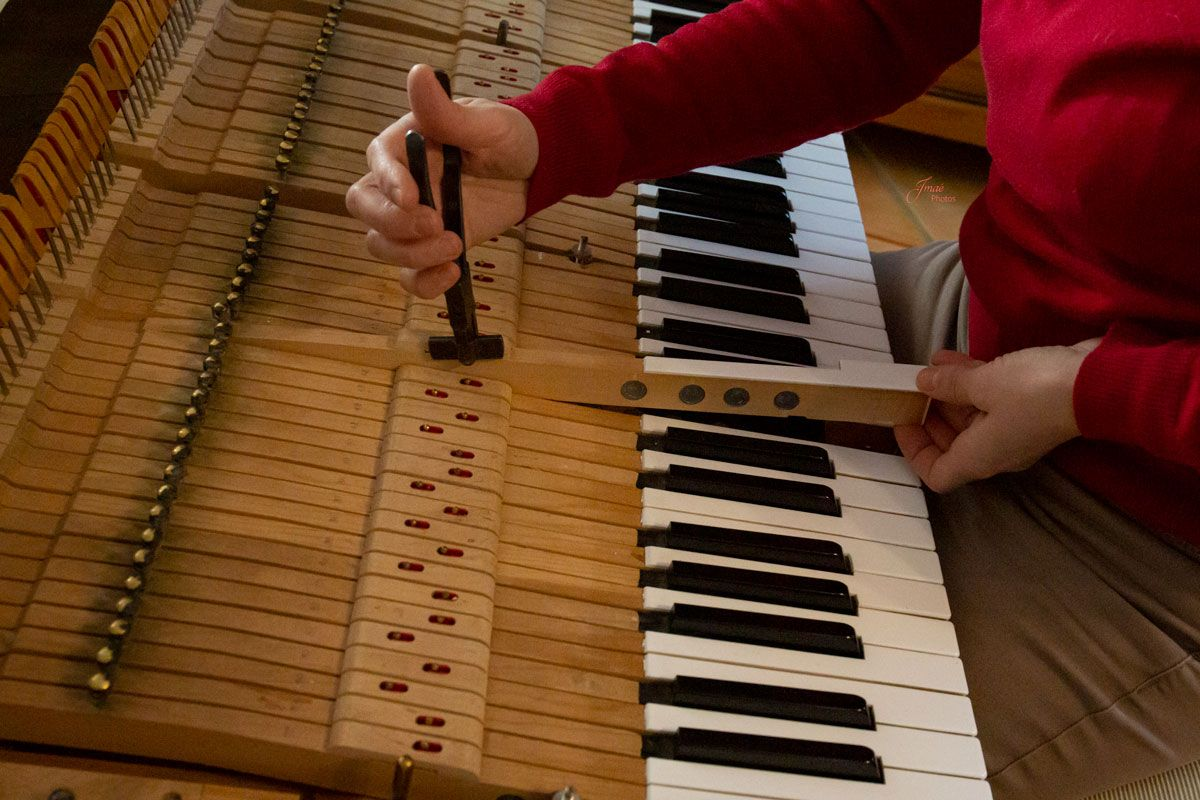 Agnès NITELET accordeur de piano tassement des feutres de mortaise de balancier
